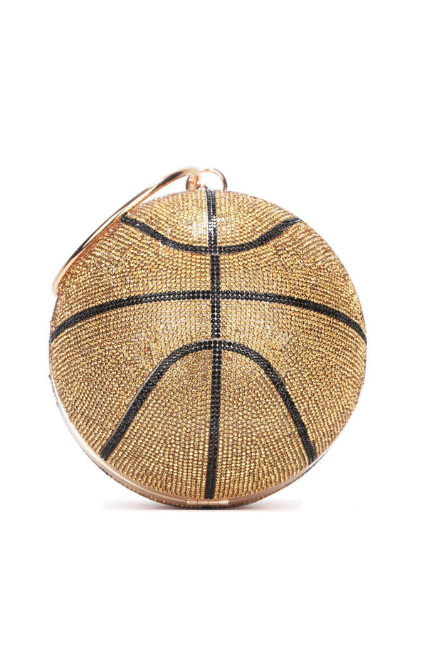 IN MY FEELS RHINESTONE BASKETBALL CLUTCH BAG-GOLD