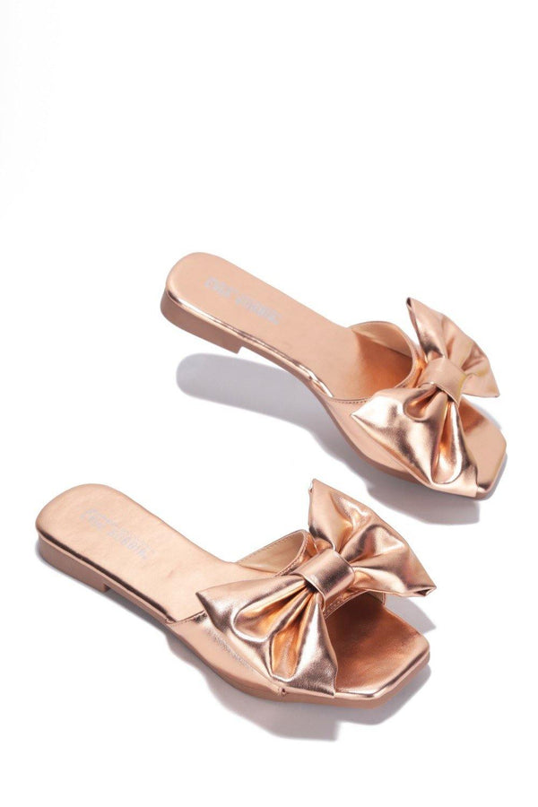 JUJU THAT BOW THOUGH BOW SLIDE SANDAL-ROSE GOLD