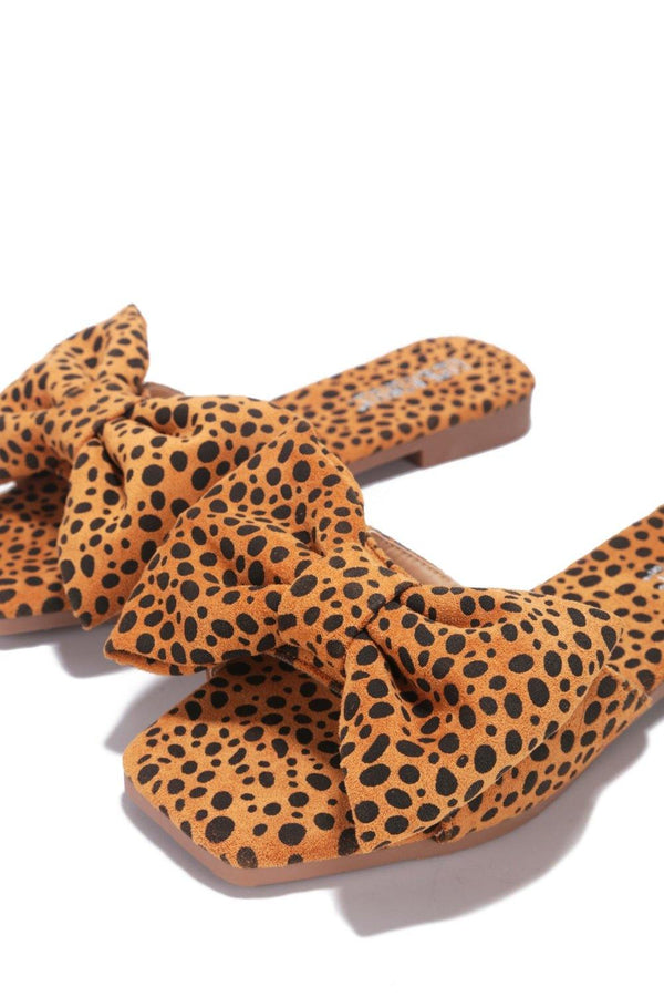 JUJU THAT BOW THOUGH BOW SLIDE SANDAL-LEOPARD