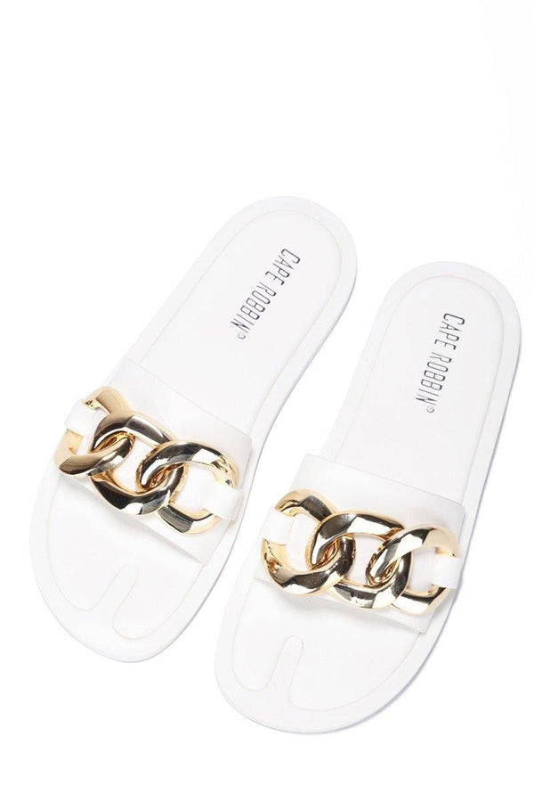 DANA CHAIN OF HEART SANDAL-WHITE