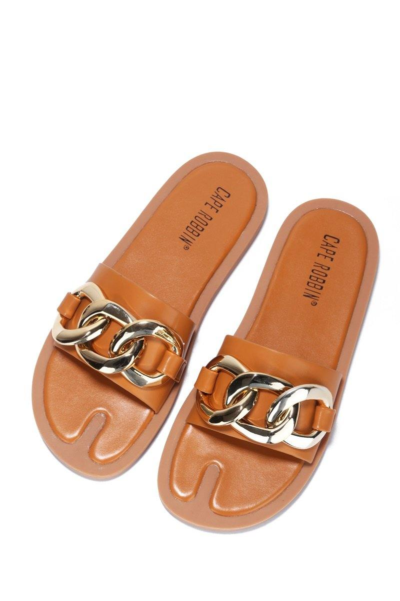 DANA CHAIN OF HEART SANDAL-COGNAC