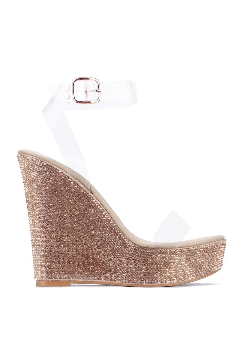 DENISHA MY BESTIE RHINESTONE WEDGES-NUDE