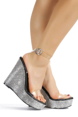 DENISHA MY BESTIE RHINESTONE WEDGES-BLACK