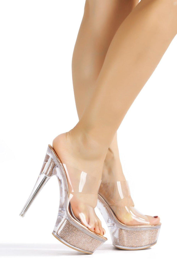 FERRARA UP ON STAGE LUCITE HEELS-ROSE GOLD