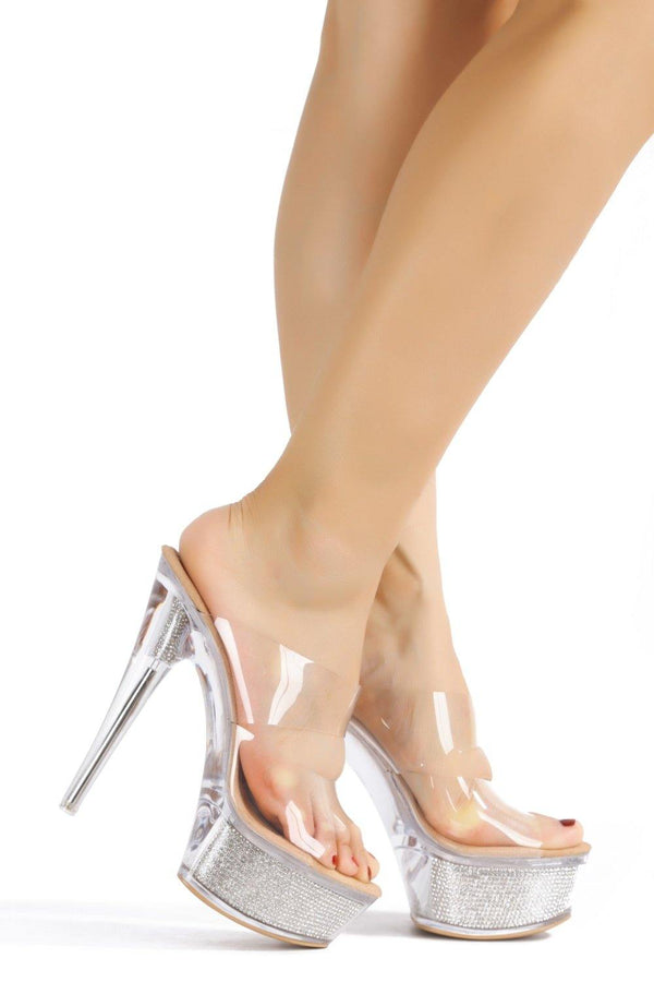 FERRARA UP ON STAGE LUCITE HEELS-NUDE