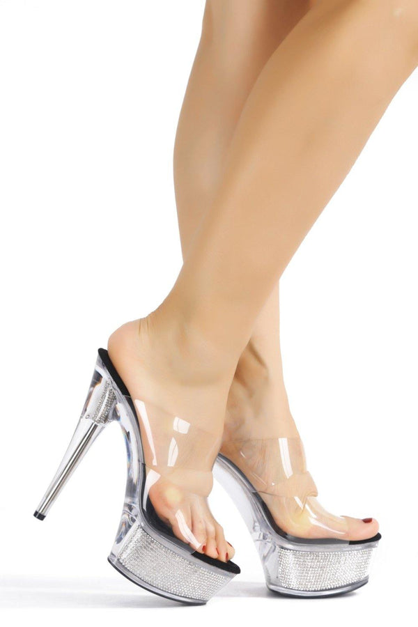 FERRARA UP ON STAGE LUCITE HEELS-BLACK