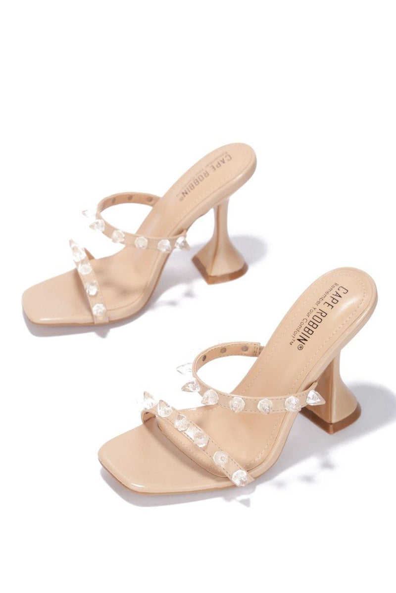 MAYQUEEN OF THE CRYSTALS HEELED SANDALS-NUDE