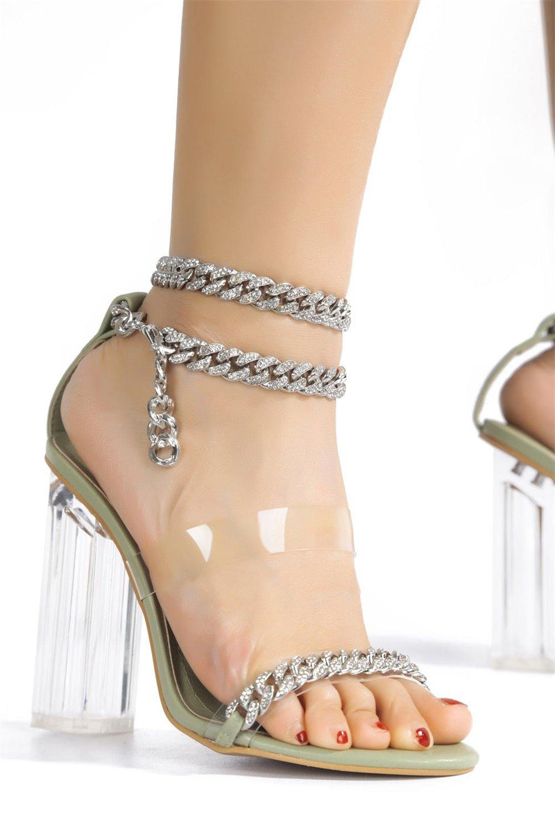 OLENE CHAIN THE GAME FOREVER HEELED SANDALS-SAGE