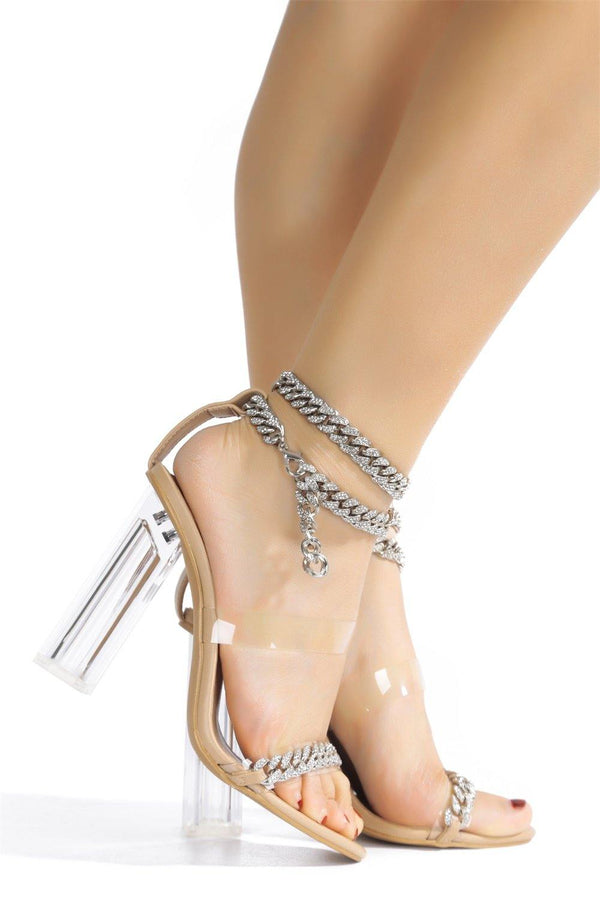 OLENE CHAIN THE GAME FOREVER HEELED SANDALS-NUDE