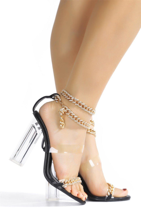 OLENE CHAIN THE GAME FOREVER HEELED SANDALS-BLACK