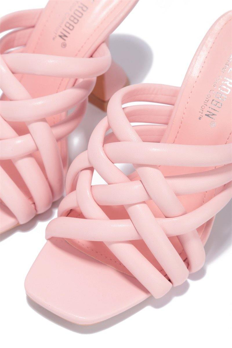 RIVER ALL OVER TOWN BLOCK HEELS-BLUSH