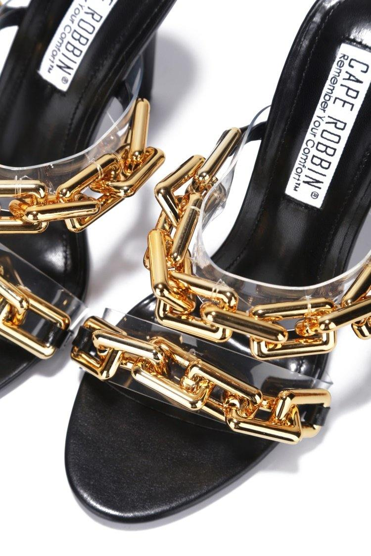 ROMA CHECK THE CROWN SANDAL HEELS-BLACK