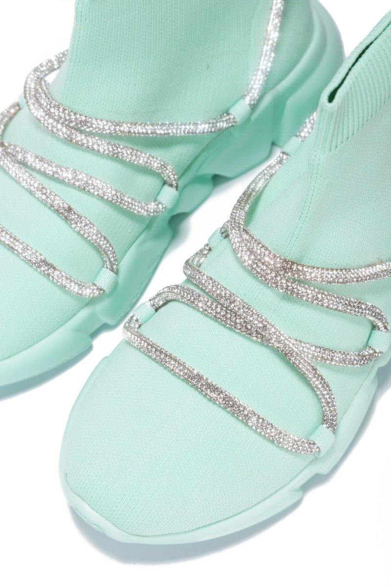 RADIATE RHINESTONE BUNGEE HIGH TOP SNEAKER-MINT
