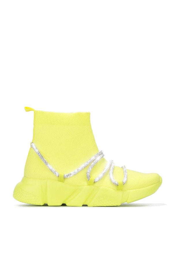 RADIATE RHINESTONE BUNGEE HIGH TOP SNEAKER-YELLOW
