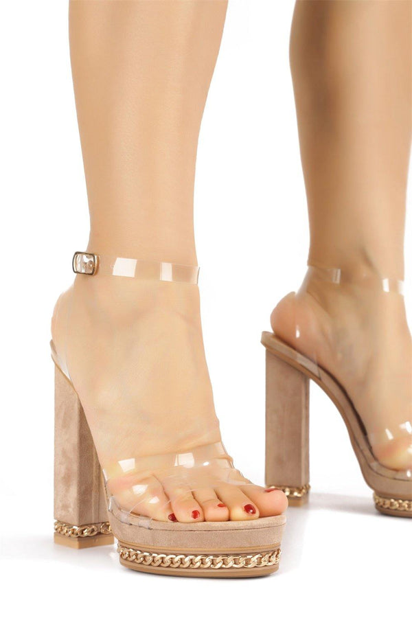 SHIBUYA WELL PLAYED BLOCK HEELS-NUDE