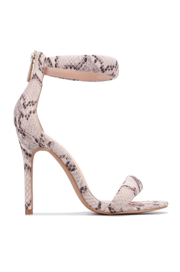 AIEA WHAT'S YOUR NUMBER SANDAL HEELS-SNAKE
