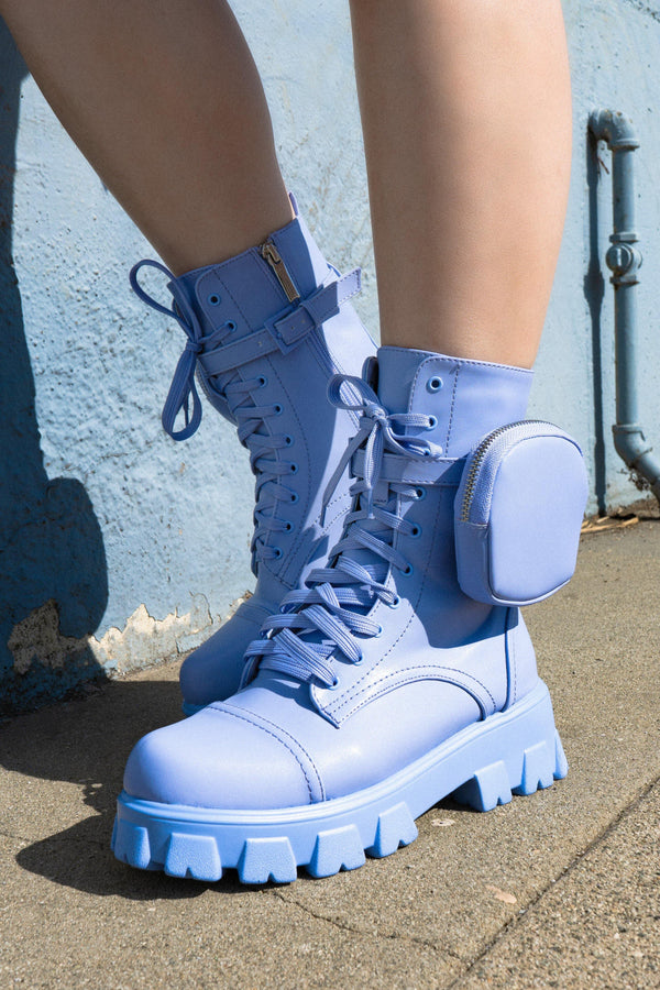 MONALISA LET'S DO THIS COMBAT BOOTS WITH POUCH-PERIWINKLE