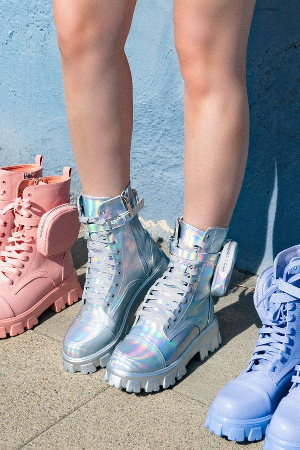 MONALISA LET'S DO THIS COMBAT BOOTS WITH POUCH-HOLO