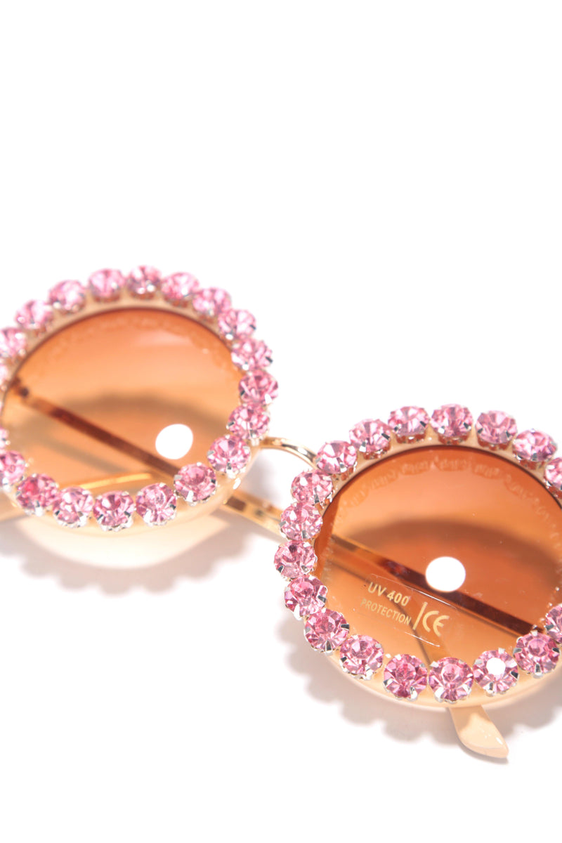 OVER AND OVER SUNGLASSES WITH RHINESTONE -PINK