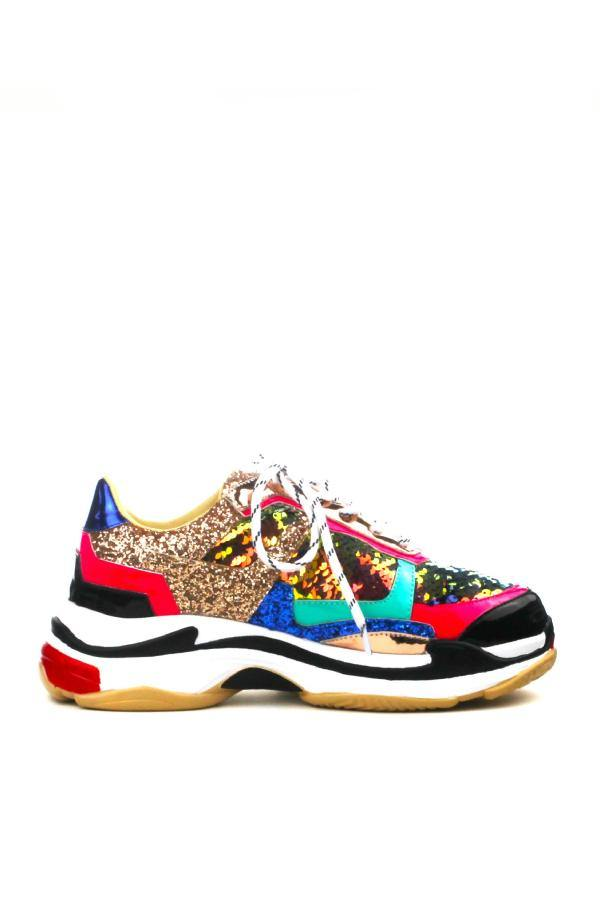 FLAG SHIP CHUNKY PLATFORM WOMEN'S LACE UP SNEAKER-MULTI COLOR