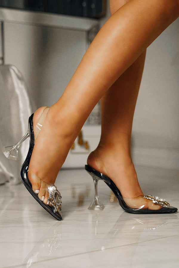 GLASSY POP LIFE FANCY SEXY HEELS-BLACK