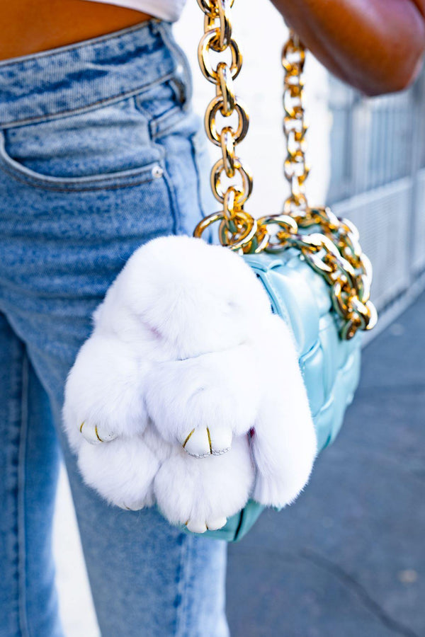 FLUFFY BUNNY HANDBAG KEY CHAIN-WHITE