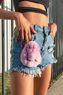 FLUFFY BUNNY HANDBAG KEY CHAIN-PURPLE