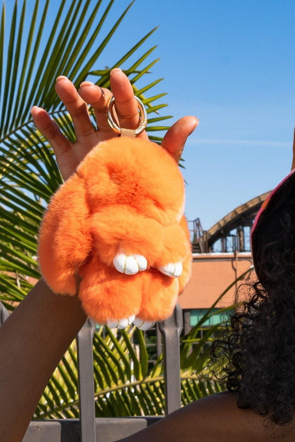 FLUFFY BUNNY HANDBAG KEY CHAIN-ORANGE