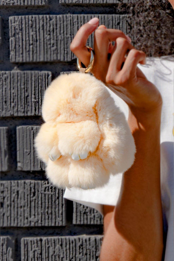 FLUFFY BUNNY HANDBAG KEY CHAIN-NUDE
