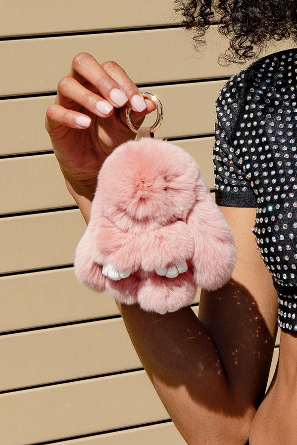 FLUFFY BUNNY HANDBAG KEY CHAIN-PINK