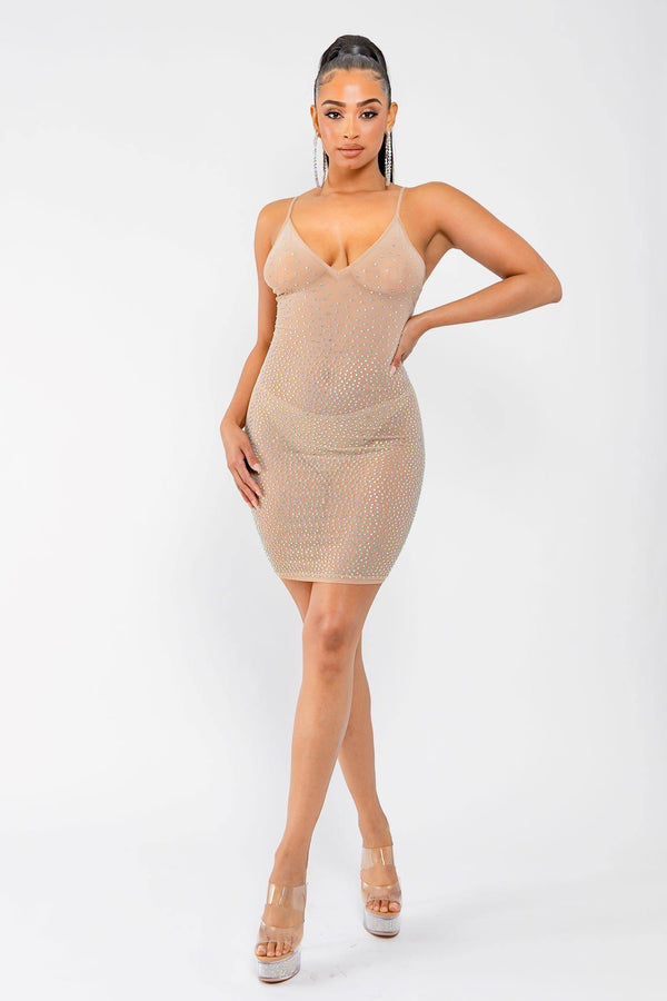 BARELY THERE RHINESTONE DRESS-TAUPE
