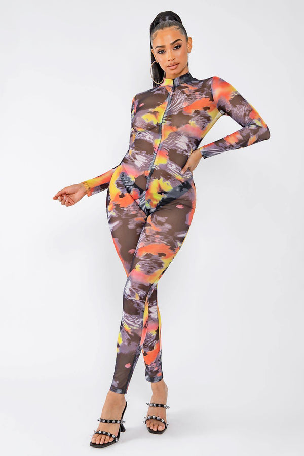 FIRED UP MESH JUMPSUIT-ORANGE