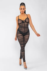SHEER GENIUS RUCHED JUMPSUIT