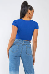 SAFETY ZONE CROP TOP-BLUE