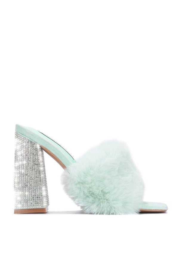 SOFTY PICK UP THE PHONE FUR MULE SANDAL-SAGE
