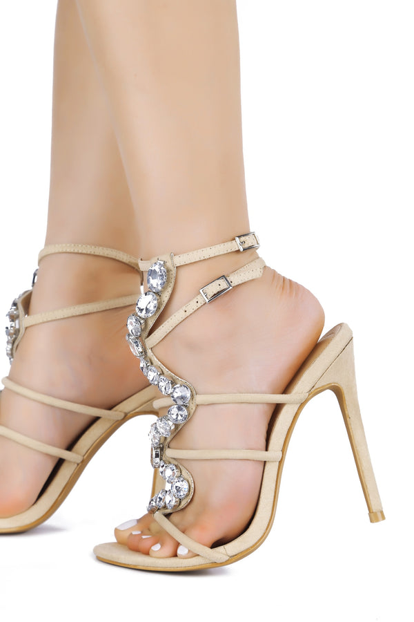 SNAKE ROAD JEWEL EMBELLISHED HEEL-NUDE