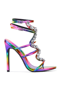 SNAKE ROAD JEWEL EMBELLISHED HEEL-MULTI