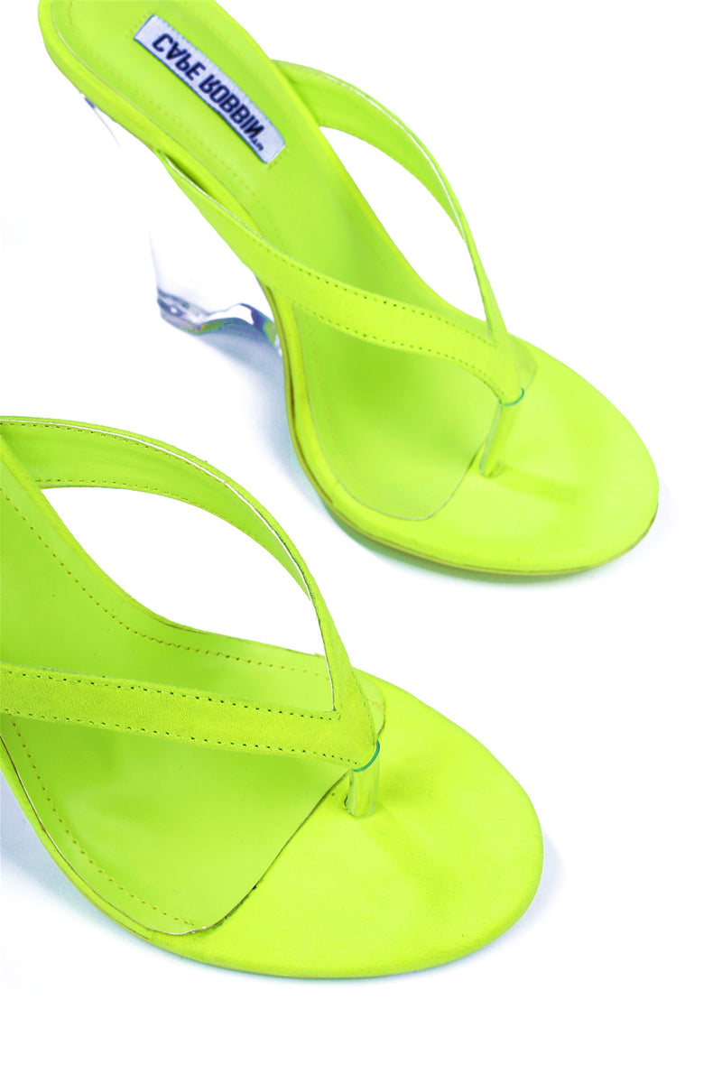SPECTACULAR HARD TO FORGET HEEL MULE-LIME