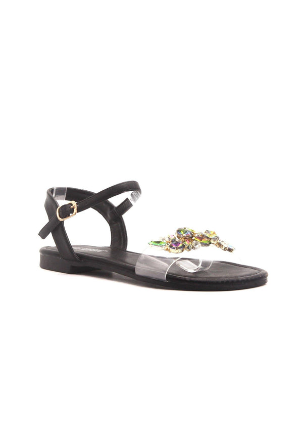 STAZIE SPARKLE TILL DAWN JEWELED SANDALS-BLACK