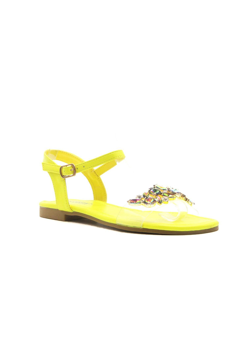 STAZIE SPARKLE TILL DAWN JEWELED SANDALS-LIME