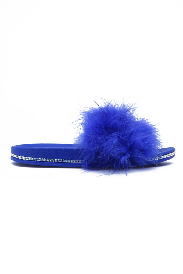 AVILA READY TO LOUNGE FEATHER SLIDES-BLUE - FlashyBox