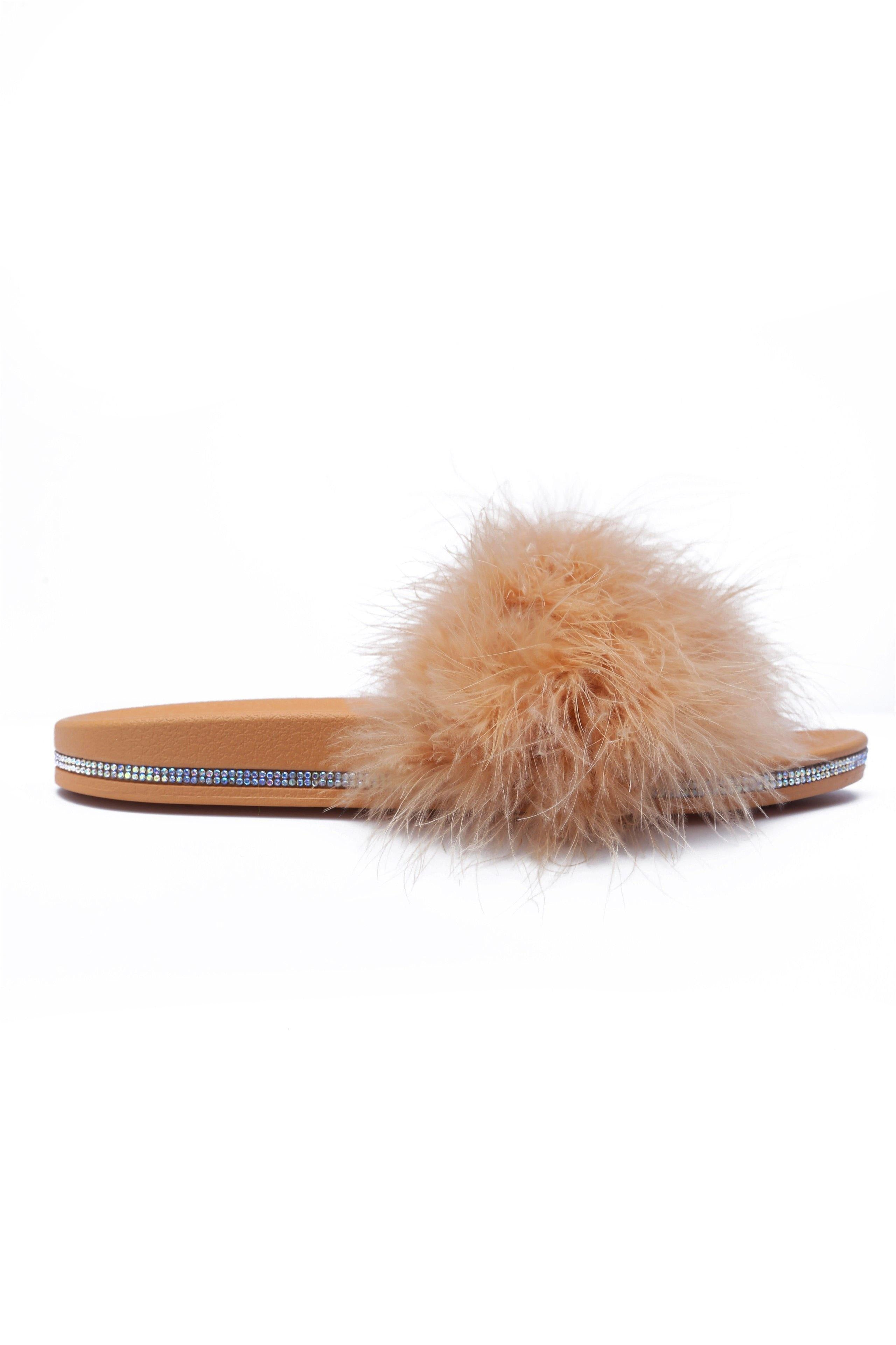 AVILA READY TO LOUNGE FEATHER SLIDES-NUDE