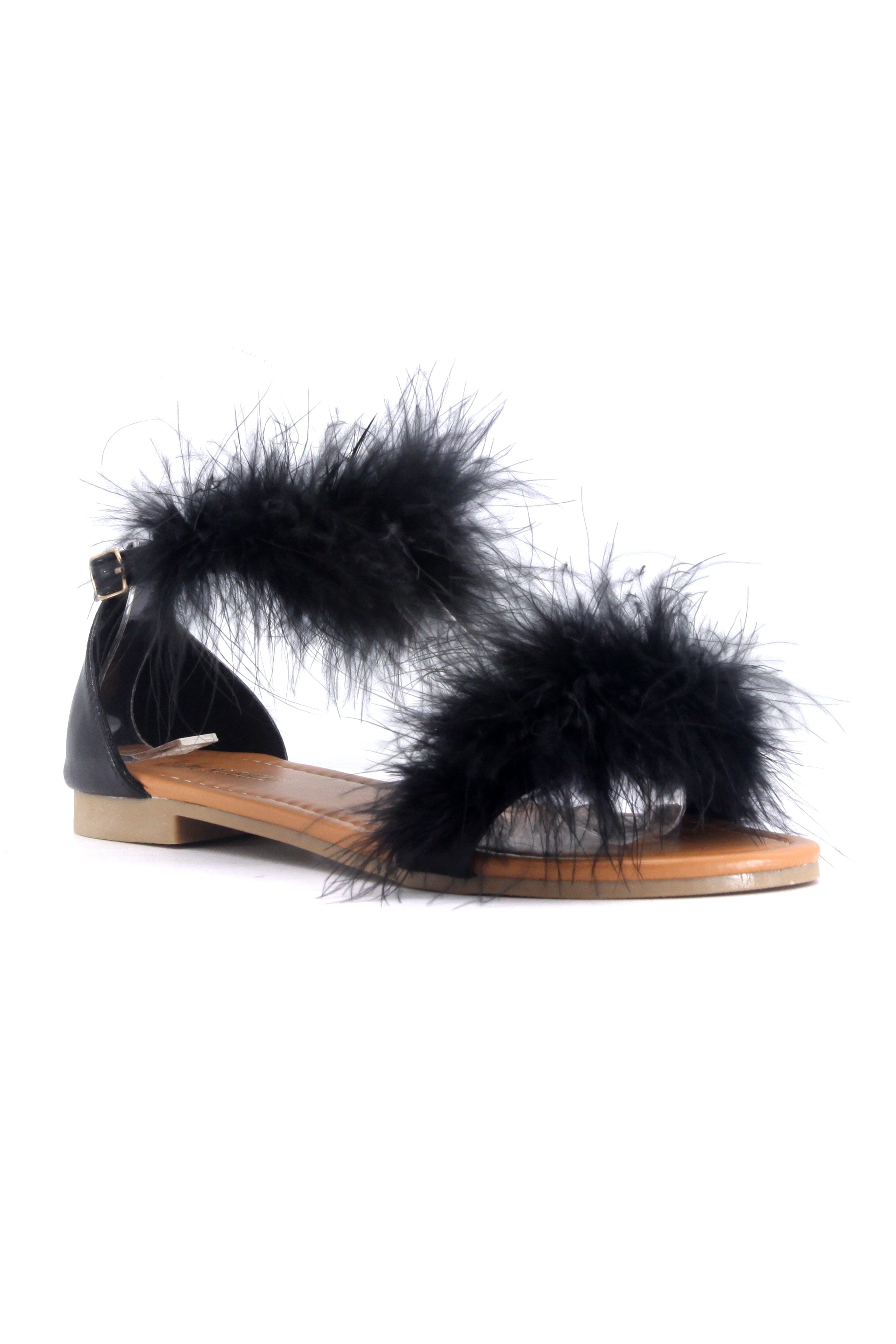EMILY-32 ALWAYS SAY YES TO FEATHERS SANDALS-BLACK