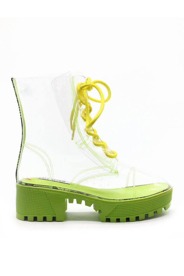 KENDRA IS THAT GIRL CLEAR BOOTS-LIME