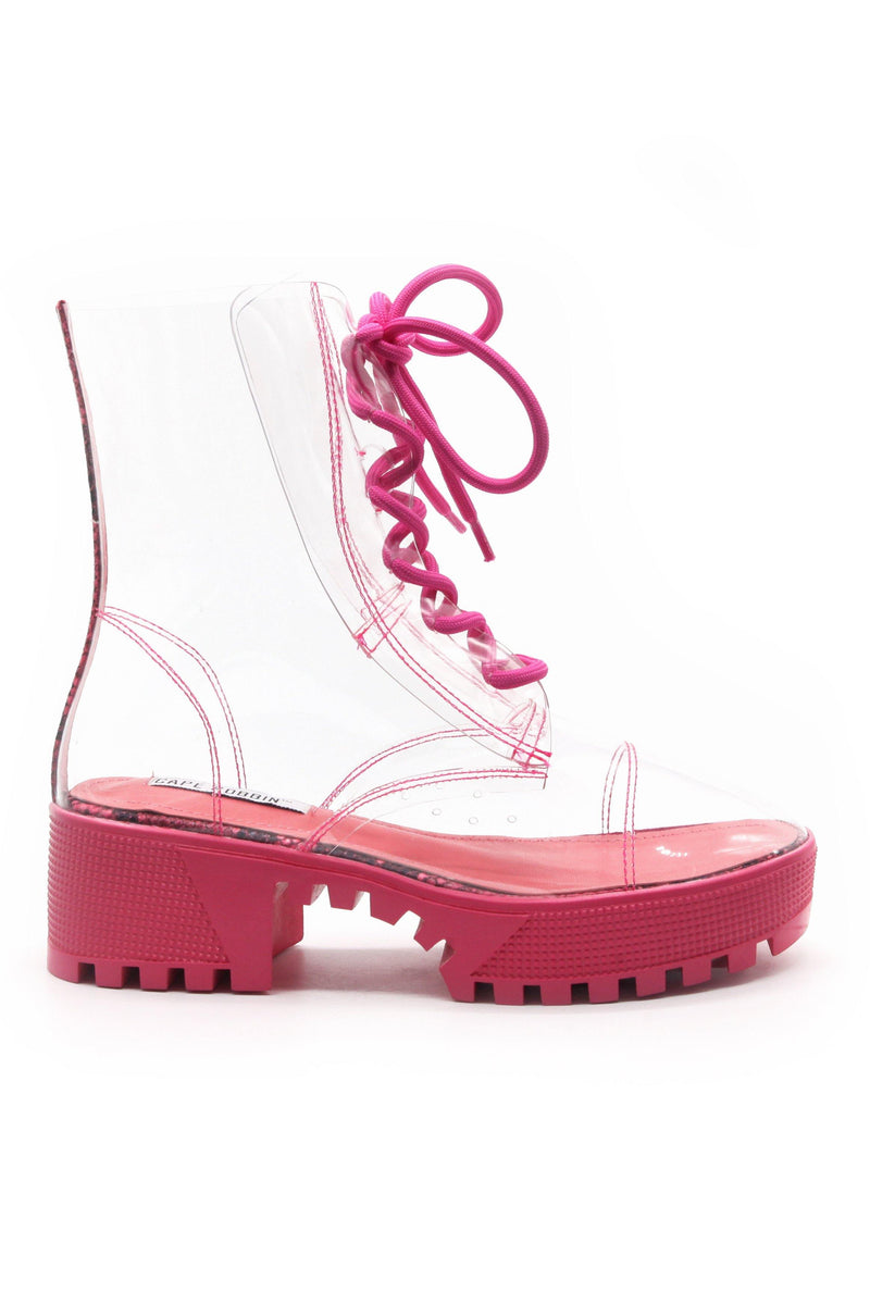 KENDRA IS THAT GIRL CLEAR BOOTS-PINK