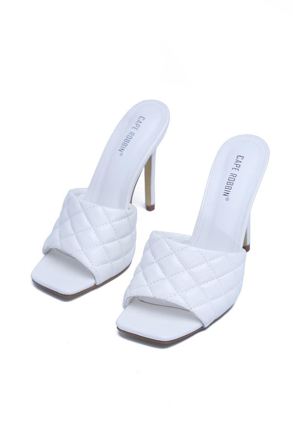 STITCH SQUARE STILETTO SANDAL-WHITE