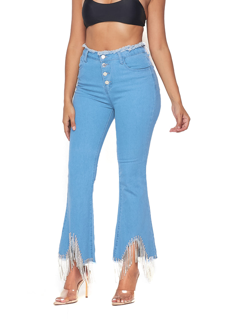 STRETCH ME OUT THANKS IT'S NEW RHINESTONE FRINGE DENIM CAPRIS-LIGHT WASH