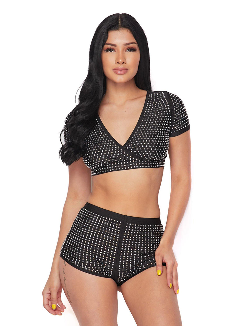 SUGAR SWEET AS CAKE RHINESTONE DETAILED CROP SET-BLACK