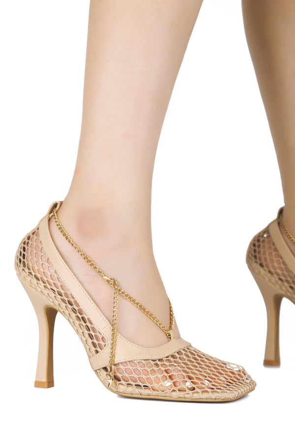 FAE SORRY, ALREADY TAKEN NETTED MESH PUMPS-NUDE