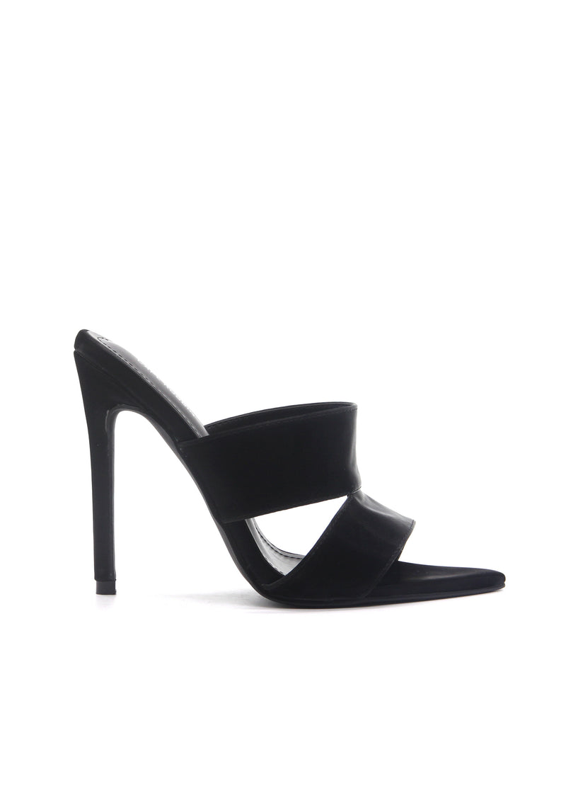 CROSSING THE LINE THICK STRAP STILETTOS-BLACK